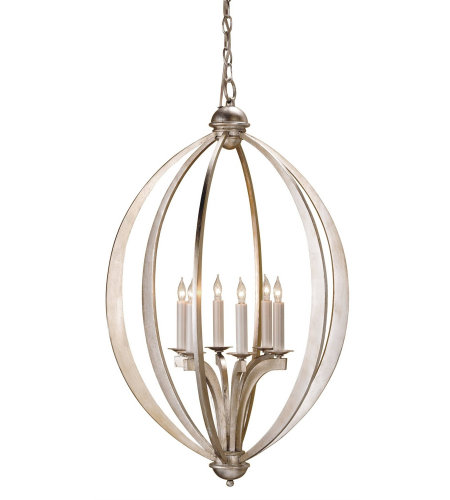 Currey And Company 9483 Bella Luna Chandelier, Large In Contemporary Silver Leaf