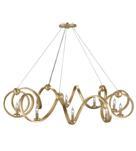 Currey & Company 9490 Ringmaster Chandelier in Contemporary Gold Leaf