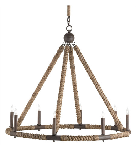 Currey & Company 9536 Bowline Chandelier in Natural/Rust