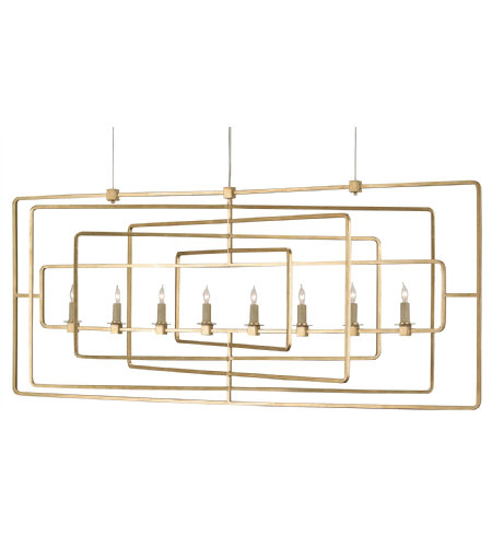 Currey & Company 9542 Metro Rectangular Chandelier in Contemporary Gold Leaf