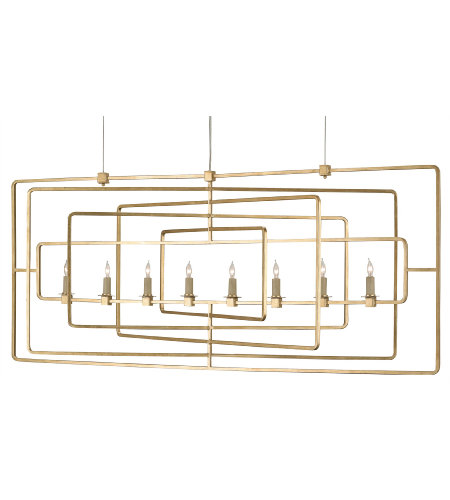 Currey & Company 9542 Metro Gold Rectangular Chandelier in Contemporary Gold Leaf