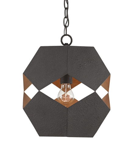 Currey And Company 9562 Enzo Pendant In Textured Bronze/Contemporary Gold Leaf