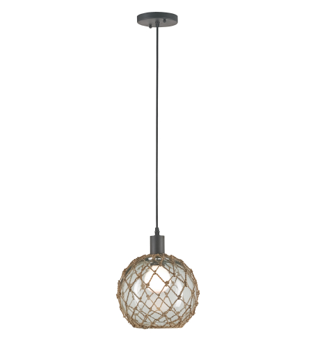 Currey And Company 9575 Fairwater Pendant, Small In Natural/Old Iron