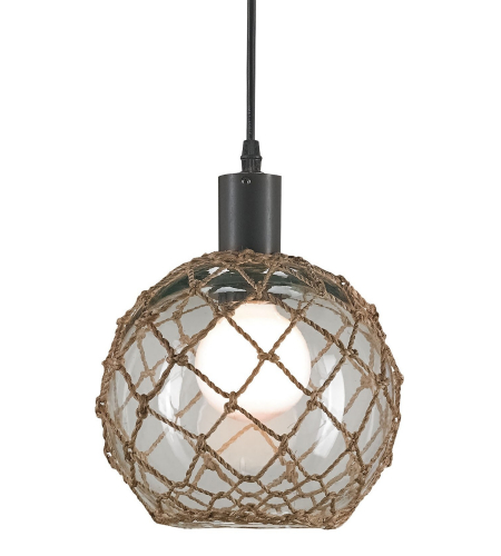 Currey And Company 9576 Fairwater Pendant, Medium In Natural/Old Iron