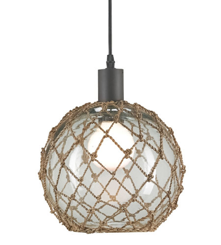 Currey & Company 9577 Fairwater Pendant in Old Iron/Natural