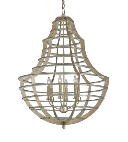 Currey And Company 9619 Everest Chandelier In Contemporary Silver Leaf