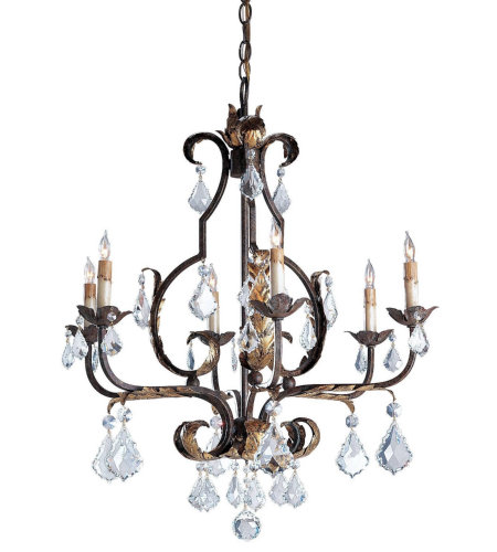 Currey And Company 9828 Tuscan Chandelier, Large In Venetian/Gold Leaf/Swarovski C