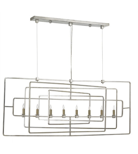 Currey And Company 9836 Metro Rectangular Chandelier In Contemporary Silver Leaf