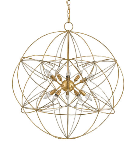 Currey & Company 9840 Zenda Orb Chandelier In Contemporary Gold Leaf/Contemporary Silver Leaf