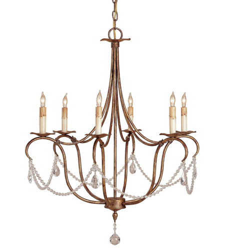 Currey & Company 9880 Crystal Lights Gold Small Chandelier in Rhine Gold
