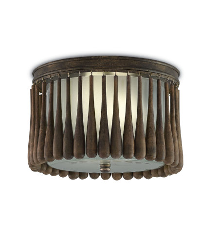 Currey And Company 9999-0014 2 Light Gateau Flush Mount In Rustic Gold/Chestnut