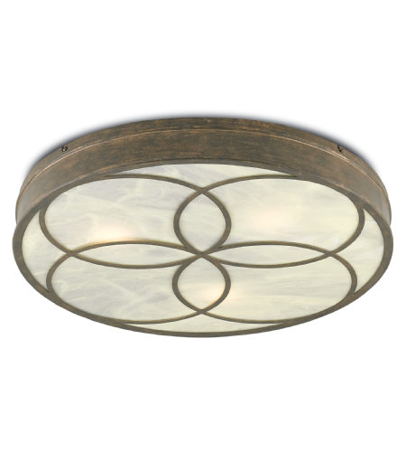 Currey And Company 9999-0025 3 Light Bramshill Flush Mount In Rustic Gold/Alabaster