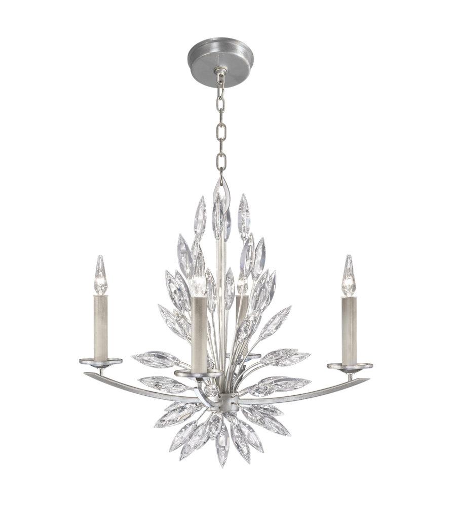 Fine art lamps 883440st lily buds 4 light chandelier in silver