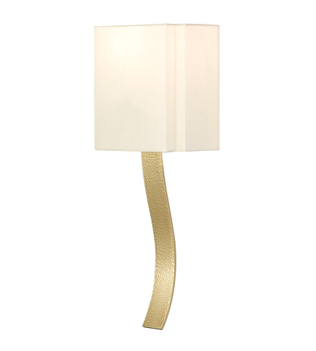 Fine Art Lamps 211350-2ST Grosvenor Square 1 Light Transitional Solid Brass Sconce In A Hammered Antique Brass Finish With Laminated Cream Fabric Shade And Stream-Lined Rolled-Over Edges