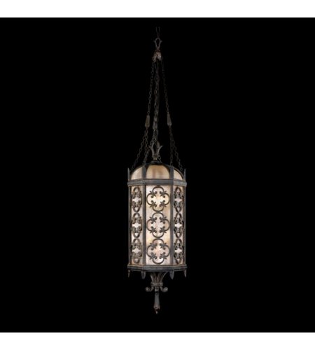 Fine Art Lamps 325282ST Costa Del Sol 4 Light Medium Lantern In Stylized Quatrefoil Design Features Marbella Wrought Iron Finish And Subtle Iridescent Textured Glass