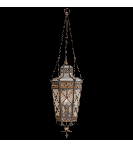 Fine Art Lamps 402582ST Chateau Outdoor 4 Light Medium Lantern Of Solid Brass Featuring A Variegated Rich Umber Patina With Gold Accents And Antiqued Glass