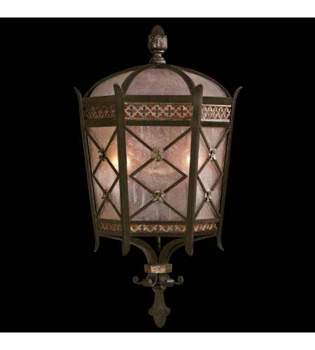 Fine Art Lamps 402781ST Chateau Outdoor 2 Light Medium Wall Mount Coupe Of Solid Brass Featuring A Variegated Rich Umber Patina With Gold Accents And Antiqued Glass