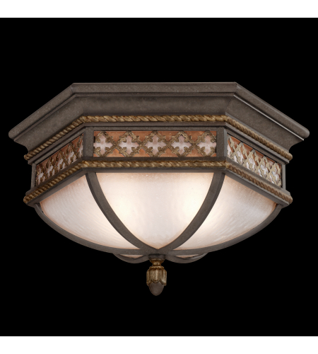 Fine Art Lamps 403082ST Chateau Outdoor 2 Light Large Flush Mount Of Solid Brass Featuring A Variegated Rich Umber Patina With Gold Accents And Antiqued Glass