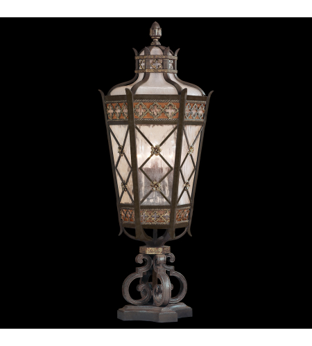 Fine Art Lamps 403983ST Chateau Outdoor 5 Light Medium Pier Mount Of Solid Brass Featuring A Variegated Rich Umber Patina With Gold Accents And Antiqued Glass