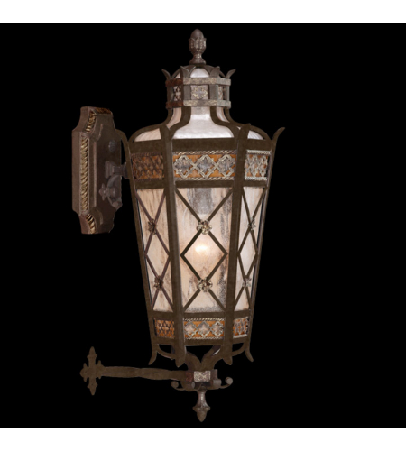 Fine Art Lamps 404381ST Chateau Outdoor 1 Light Small Top Wall Mount Of Solid Brass Featuring A Variegated Rich Umber Patina With Gold Accents And Antiqued Glass