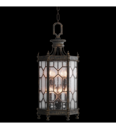 Fine Art Lamps 414282ST Devonshire 8 Light Large Lantern In Antiqued Bronze Finish With Subtle Gold Accents And Textured Seedy Glass Panes