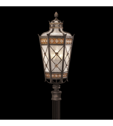 Fine Art Lamps 541680ST Chateau Outdoor 5 Light Post Mount Of Solid Brass Featuring A Variegated Rich Umber Patina With Gold Accents And Antiqued Glass