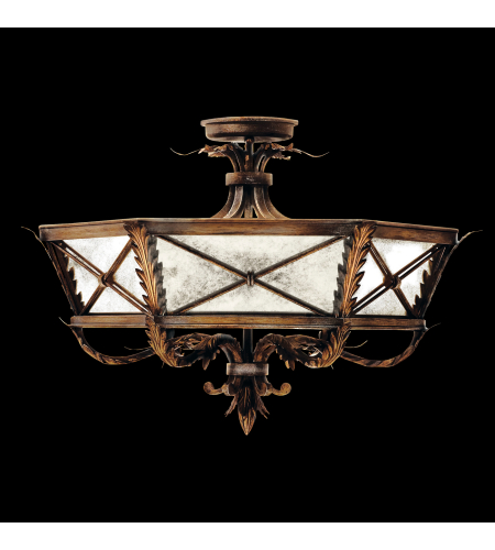 Fine Art Lamps 562240st Newport 3 Light Semi-Flush Mount In Gold