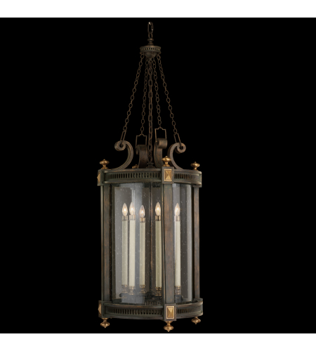 Fine Art Lamps 564382ST Beekman Place 5 Light Lantern Of Weathered Woodland Brown With Gold Highlights And Solid Brass Accents