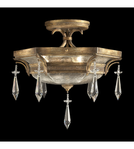 Fine Art Lamps 569840st Monte Carlo 3 Light Semi-Flush Mount In Gold