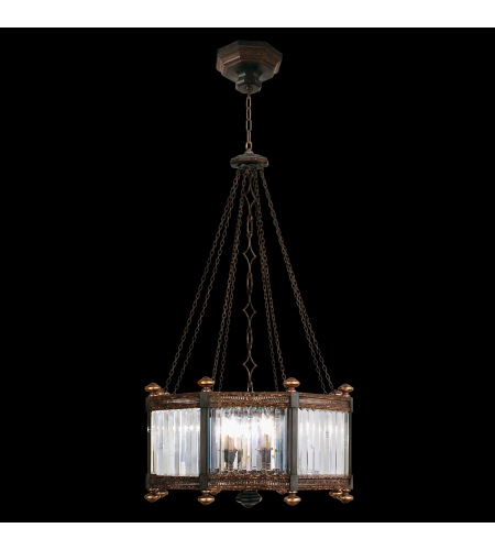 Fine Art Lamps 584440ST Eaton Place 8 Light Pendant In Rustic Iron Finish With Garnet Undertones