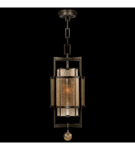 Fine Art Lamps 590040ST Singapore Moderne 1 Light Lantern Of Steel In Brown Patinated Bronze With Warm Interior Translucent Mica Shade And Metal Frame