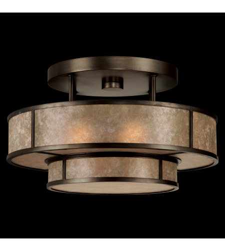 Fine Art Lamps 600940st Singapore Moderne 3 Light Semi-Flush Mount In Bronze