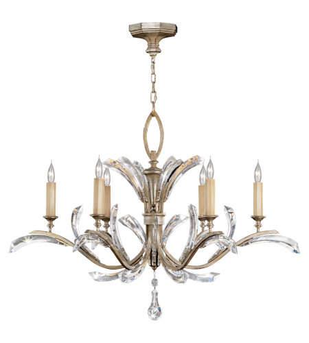Fine Art Lamps 702440ST Beveled Arcs 6 Light Chandelier in Silver