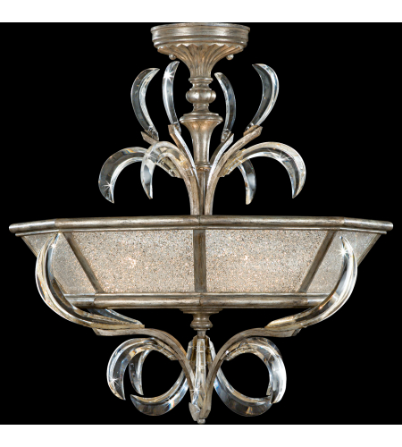 Fine Art Lamps 704340st Beveled Arcs 3 Light Semi-Flush Mount In Silver
