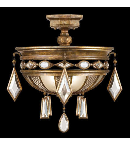Fine Art Lamps 711440-1st Encased Gems 3 Light Semi-Flush Mount In Bronze