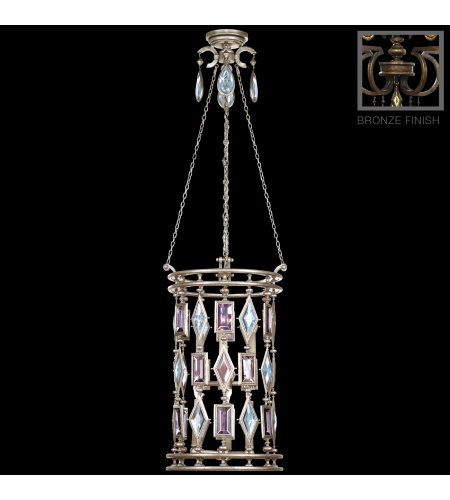 Fine Art Lamps 711640-3ST Encased Gems 6 Light Lantern In Venerable Bronze Patina With Clear Crystal Gems
