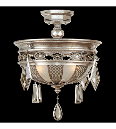 Fine Art Lamps 727140-1st Encased Gems 3 Light Semi-Flush Mount In Silver