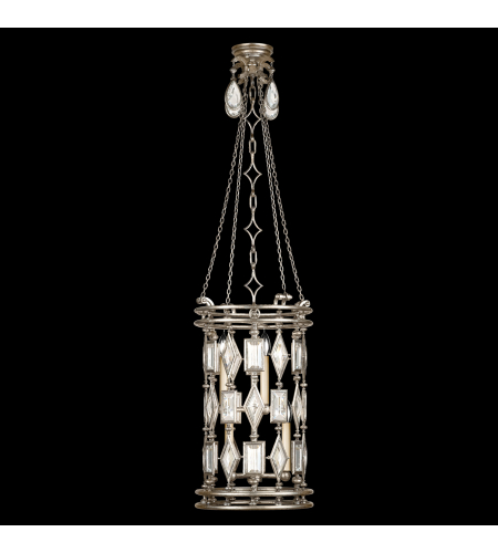 Fine Art Lamps 727440-3ST Encased Gems 6 Light Lantern In Vintage Silver Leaf Finish With Clear Crystal Gems