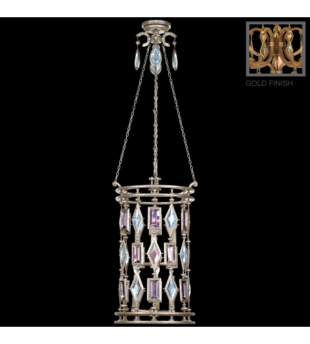 Fine Art Lamps 727640-3ST Encased Gems 6 Light Lantern In Variegated Gold Leaf Finish With Clear Crystal Gems