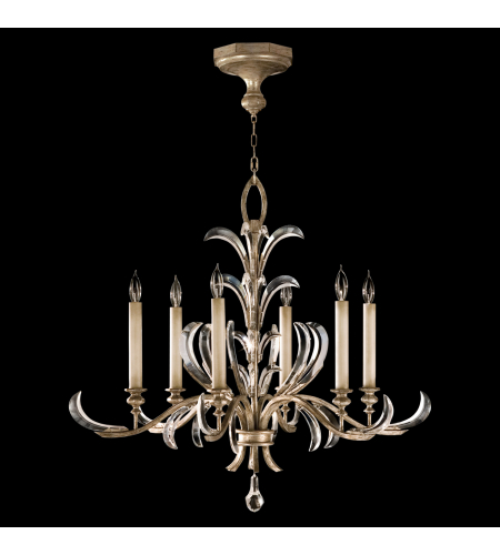 Fine Art Lamps 739140st Beveled Arcs 6 Light Chandelier In Silver