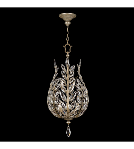 Fine Art Lamps 753840ST Crystal Laurel 6 Light Lantern In Antiqued Warm Silver Leaf With Stylized Faceted Crystal Leaves