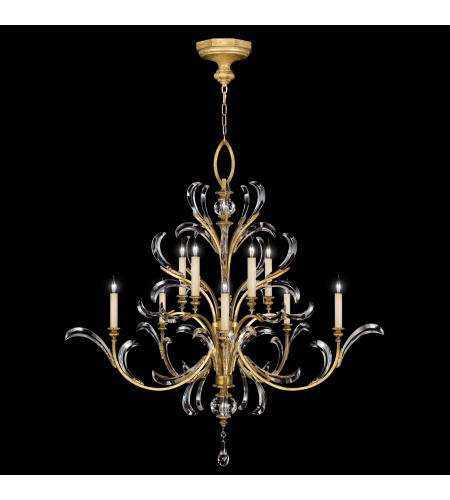 Fine Art Lamps 760640st Beveled Arcs Gold 10 Light Chandelier In Gold