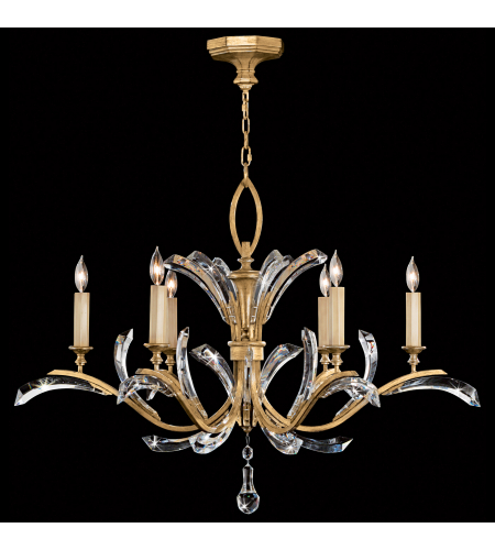 Fine Art Lamps 761240st Beveled Arcs Gold 6 Light Chandelier In Gold