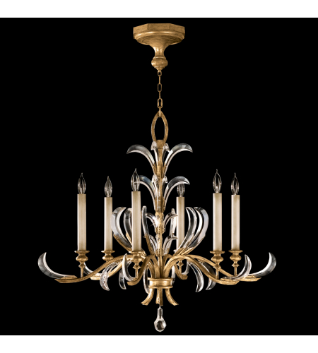 Fine Art Lamps 762640st Beveled Arcs Gold 6 Light Chandelier In Gold