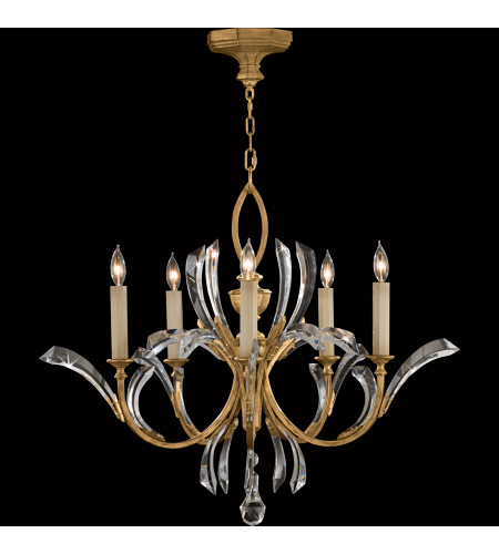 Fine Art Lamps 763040st Beveled Arcs Gold 5 Light Chandelier In Gold