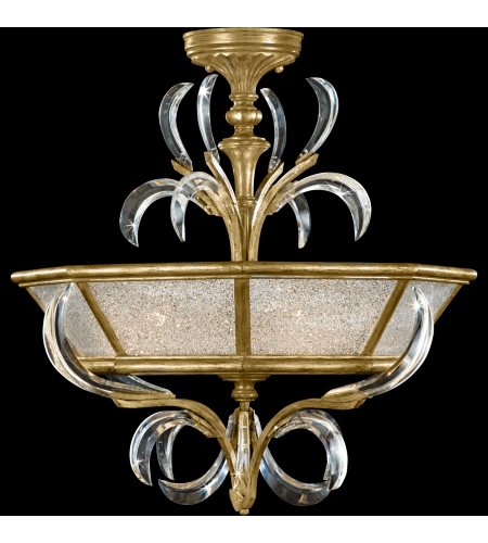 Fine Art Lamps 767740st Beveled Arcs Gold 3 Light Semi-Flush Mount In Gold