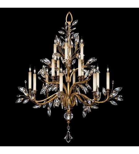 Fine Art Lamps 773740ST Crystal Laurel Gold 16 Light Chandelier In Gold Leaf With Stylized Faceted Crystal Leaves