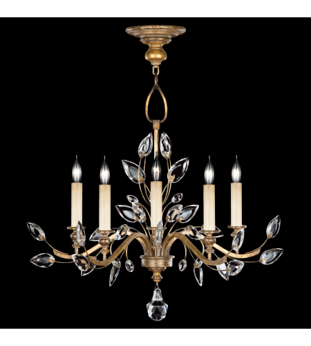 Fine Art Lamps 775840ST Crystal Laurel Gold 5 Light Chandelier In Gold Leaf With Stylized Faceted Crystal Leaves