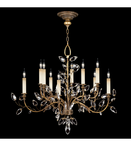Fine Art Lamps 775940ST Crystal Laurel Gold 10 Light Chandelier In Gold Leaf With Stylized Faceted Crystal Leaves
