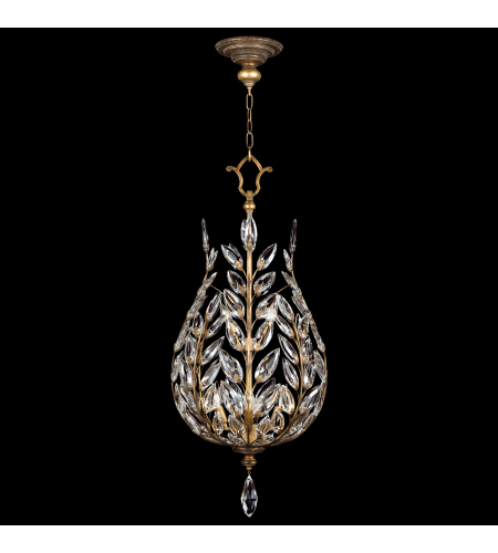 Fine Art Lamps 776540ST Crystal Laurel Gold 6 Light Lantern In Gold Leaf With Stylized Faceted Crystal Leaves